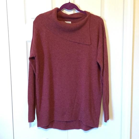Nicole Miller Sweaters - Nicole Miller Burgundy Split Cowl Cashmere Sweater